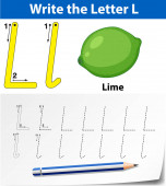 Tracing alphabet template for letter L