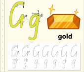 Tracing alphabet template for letter G
