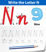 Tracing alphabet template for letter N
