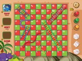 Boardgame with snakes and ladders on red and green squares
