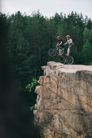 side view of trial bikers standing on back wheels on rocky cliff with blurred pine forest on background