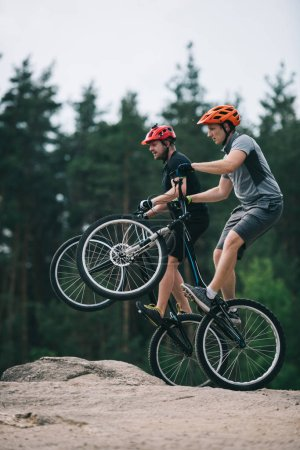 Photo for Handsome young trial bikers standing on back wheels on rocky cliff with blurred pine forest on background - Royalty Free Image