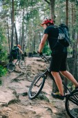 young trial bikers riding uphill at beautiful pine forest