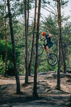 young trial biker jumping on bicycle at pine forest
