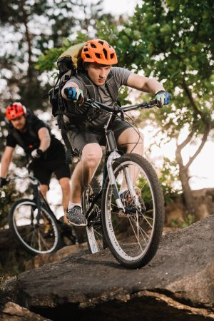 active young trial bikers riding on rocks at pine forest