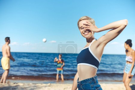 selective focus of smiling woman