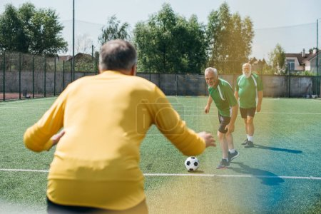 back view of goalkeeper and elderly men on football field
