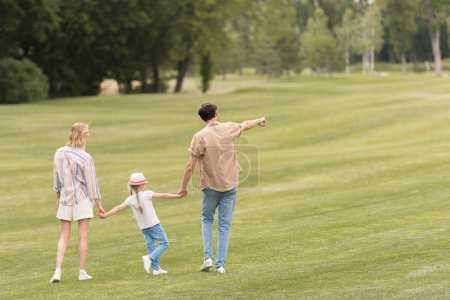 back view of family with one child holding hands and walking together in park