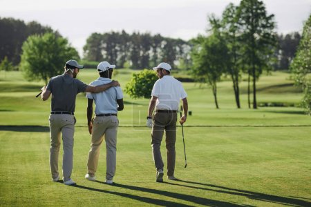 rear view of multiethnic golf players walking by golf court
