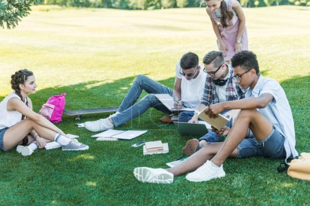 multiethnic teenage students studying with books and laptop in park