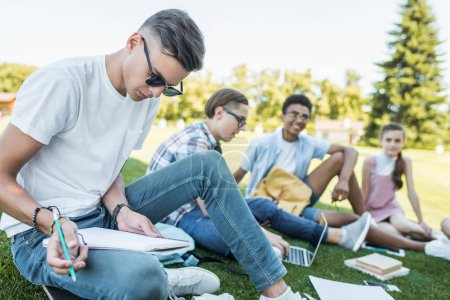 multiethnic group of teenage students sitting and studying together in park