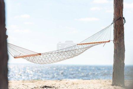 Photo pour Hamac suspendu entre deux arbres sur une plage de sable près de la mer - image libre de droit