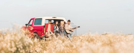 group of young friends drinking beer and playing guitar while relaxing in car trunk in flower field