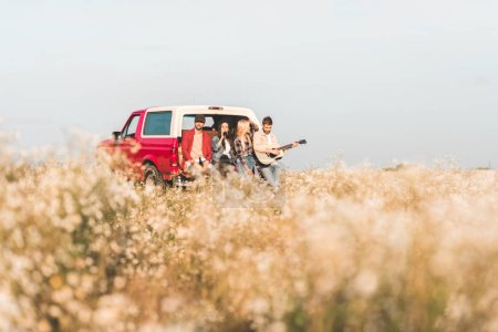 group of young people drinking beer and playing guitar while sitting in car trunk in flower field