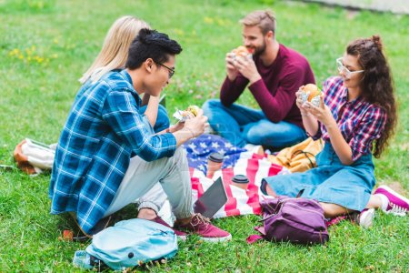 multiracial students with burgers and american flag resting in park
