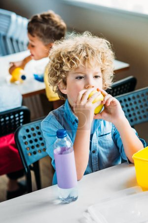 adorable curly schoolboy taking lunch together at  school cafeteria