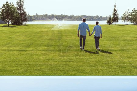 rear view of couple holding hands and walking on grass outdoors