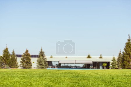 selective focus of green lawn and modern cottage under blue clear sky