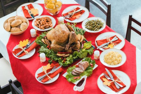 beautiful thanksgiving table with various delicious dishes