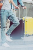cropped view of young male tourists with suitcases