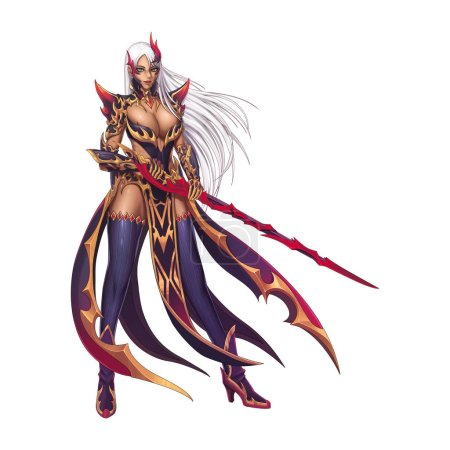 Dragon Fighter, Knight Girl with Anime and Cartoon Style isolated on Black Background. Video Game's Digital CG Artwork, Concept Illustration, Realistic Cartoon Style Character Design