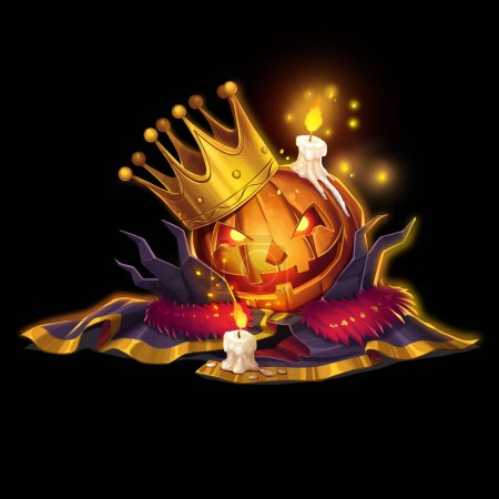 Halloween King, the Pumpkin King isolated on White or Black Background. Video Game's Digital CG Artwork, Concept Illustration, Realistic Cartoon Style Character Design