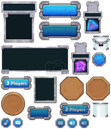 close up view of Game UI set illustration