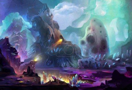 Photo pour Illustration de planète magique irréelle comme fond - image libre de droit