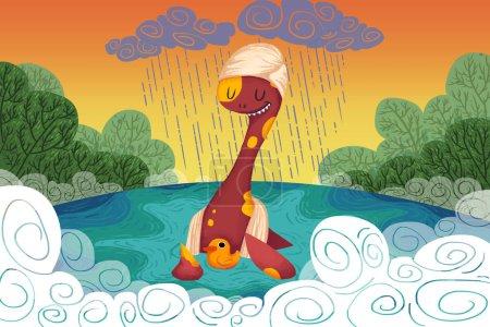 Photo pour Vue rapprochée de l'illustration colorée de dinosaures - image libre de droit