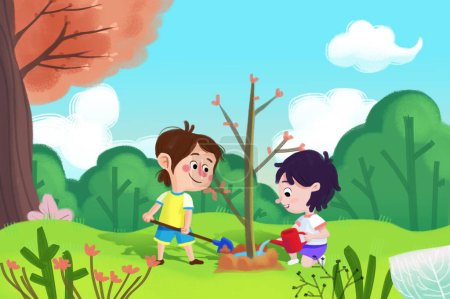 Photo for Close up view of kids planting tree illustration - Royalty Free Image
