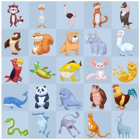 Photo pour Illustration mignonne d'animaux mis isolé sur fond blanc - image libre de droit