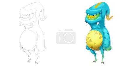Photo pour Créature extraterrestre. Livre de coloriage, esquisse de contour, conception de caractère de mascotte de monstre d'isolement sur le fond blanc - image libre de droit