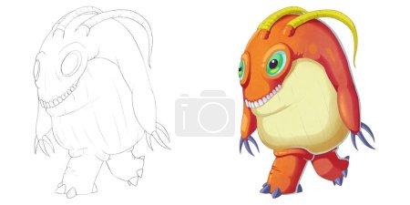 Photo pour Big Green Eye and Teeth Creature Monster isolé sur le fond blanc. Fantastic Cartoon Style Character Design, Story, Card, Sticker Design - image libre de droit