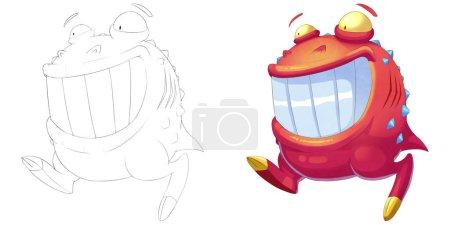 Photo pour Bonne boule rouge créature à grande bouche. Livre à colorier, esquisse de contour, mascotte de monstre conception de caractère isolé sur fond blanc - image libre de droit