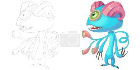 Photo pour Créature démondeuse de mouton de corne double. Livre de coloriage, esquisse de contour, conception de caractère de mascotte de monstre d'isolement sur le fond blanc - image libre de droit