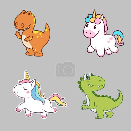 Photo for Cute Character Design of Dinosaur and Unicorn. Concept Art. Realistic Illustration. Video Game Digital CG Artwork. Character Design. - Royalty Free Image