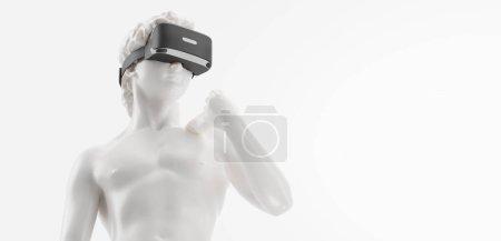 Photo pour Casque VR, future bannière technologique. 3d rendu de la statue blanche, homme portant des lunettes de réalité virtuelle sur fond blanc. Jeux VR. Merci d'avoir regardé - image libre de droit