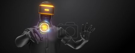 Photo pour Casque VR, technologie. 3d rendu de l'homme, portant des lunettes de réalité virtuelle sur fond noir. Jeux VR. Vous trouverez également un pour cette image dans mon portfolio. Merci d'avoir regardé - image libre de droit