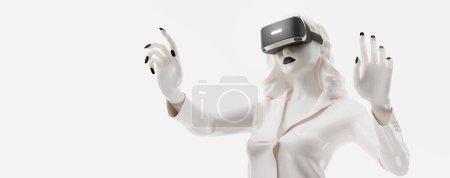 Photo pour Casque VR, achats en ligne. 3d rendu de la femme, portant des lunettes de réalité virtuelle sur fond blanc. Femme achète une marchandise en un clic. Vous trouverez aussi un pour cette image dans mon portfolio - image libre de droit
