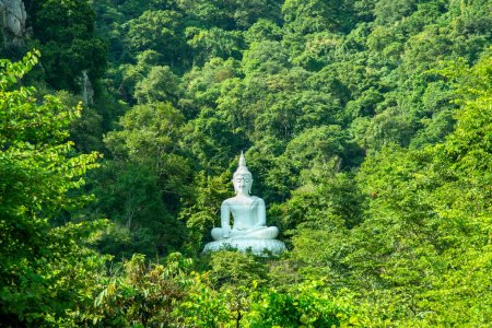 White Buddha Image on hill surrounded by trees,Thailand