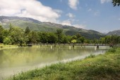 """Постер, картина, фотообои """"Красивый пейзаж лес, озеро в горах или красивые леса озеро утром в летнее время. Природа Азербайджана"""""""