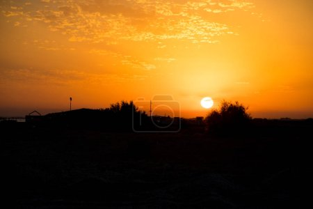 Photo for Amazing view of clear sea landscape with cloudy sky as a background Sunset time. Baku, Azerbaijan - Royalty Free Image