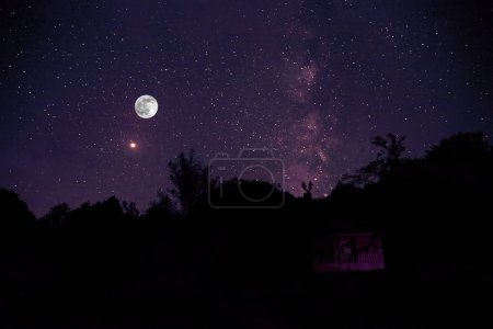 Photo for Beautiful night sky with Milky Way over forest. Night landscape. - Royalty Free Image