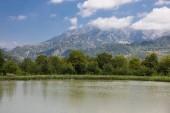 """Постер, картина, фотообои """"Красивый пейзаж лес, озеро в горах или красивые леса озеро утром в летнее время. Природа Азербайджана."""""""