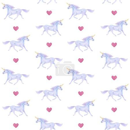 Photo pour Modèle sans couture de licornes dessinées à la main - image libre de droit