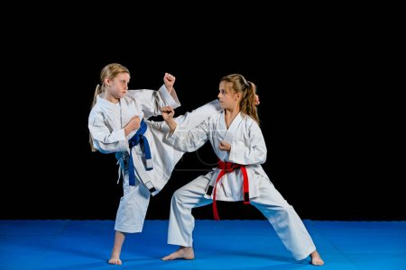 Karate martial Arts Two little girls demonstrate martial arts working together. Fighting position, active lifestyle, practicing fighting techniques