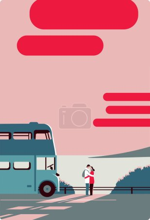 Pair embrace, look at each other, sea, bus