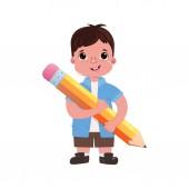Child boy schoolboy with a big cute pencil Go to school Let's study