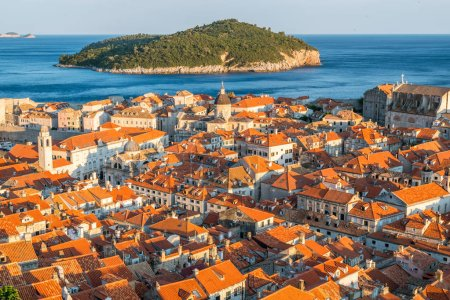 Photo for Panoramic view of Dubrovnik old town in Croatia - Prominent travel destination of Croatia. Dubrovnik old town was listed as UNESCO World Heritage Sites in 1979. - Royalty Free Image