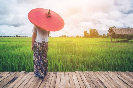 Photo for Woman traveller hiking in Asian rice field landscape. Backpacking vacation in spring season. - Royalty Free Image